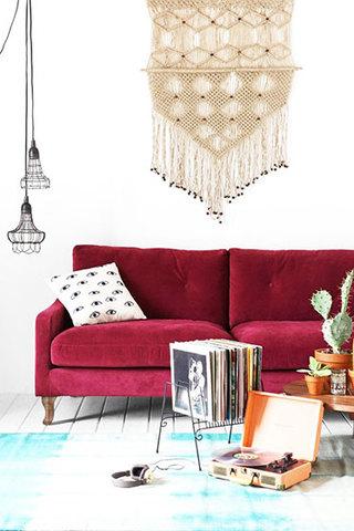 红色布艺沙发小客厅装修效果图