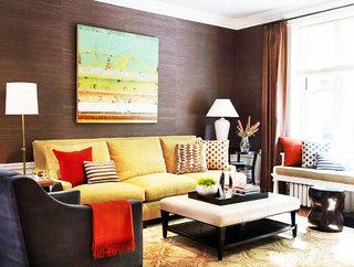 褐色小客厅背景墙装修效果图