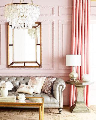 粉色小客厅背景墙装修效果图
