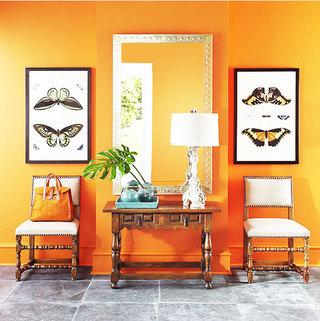 橙色小客厅背景墙装修效果图