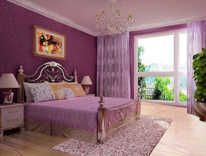 深紫色卧室效果图