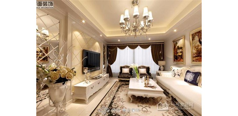 室内设计效果图 齐家装修网 -现代欧式109平米三房两厅一厨两卫客厅高清图片