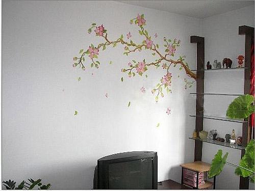 花枝手绘墙电视背景墙效果图