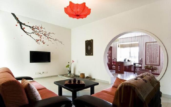 中式梅花手绘墙电视背景墙效果图