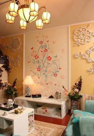 欧式华丽手绘墙电视背景墙效果图