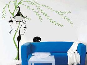增加客厅时尚度 12款沙发手绘墙效果图