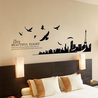 黑色白色卧室手绘墙效果图
