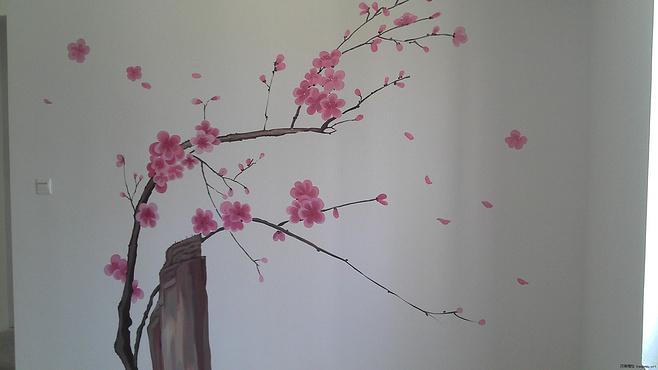 中式手绘墙沙发背景墙效果图