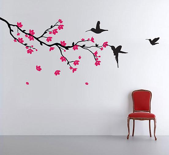 中式卧室手绘墙效果图