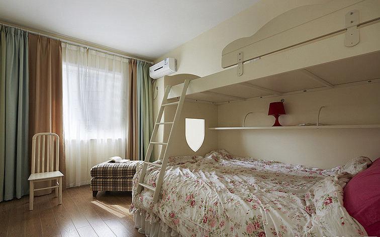 田园白色双层儿童床效果图