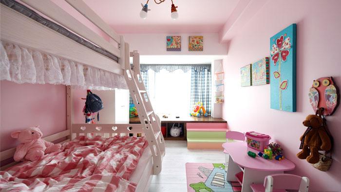 粉色白色双层儿童床效果图