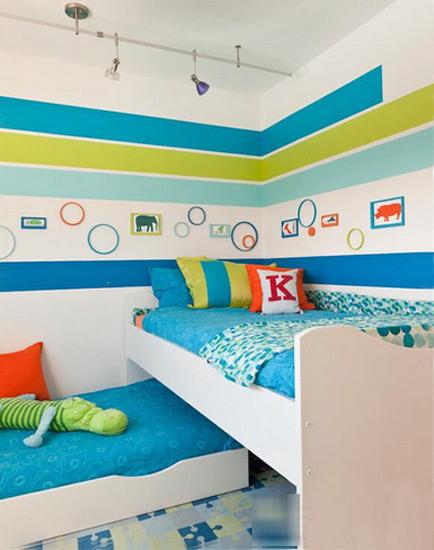 蓝色绿色双层儿童床效果图