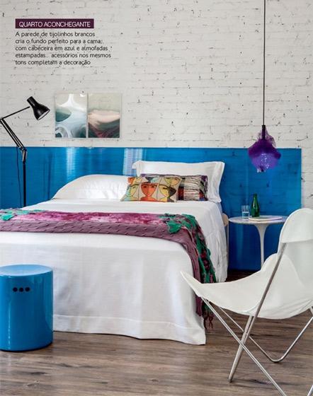 白色蓝色卧室效果图