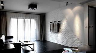 白色黑色时尚简约客厅效果图