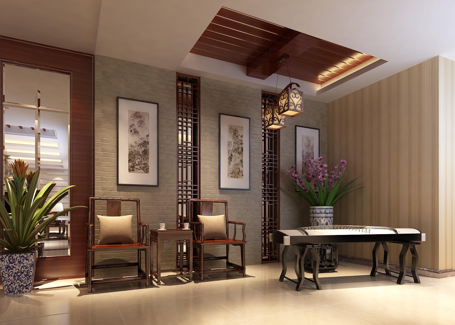 中式风格装修效果图,室内设计效果图-齐家装修网图片