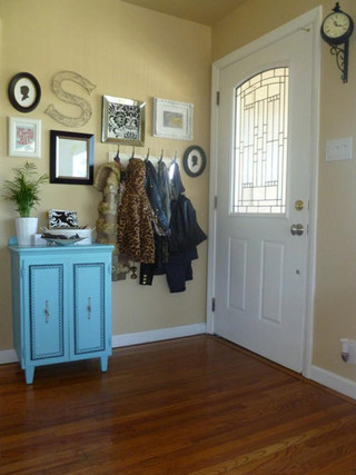 美式浅蓝色双门玄关柜效果图