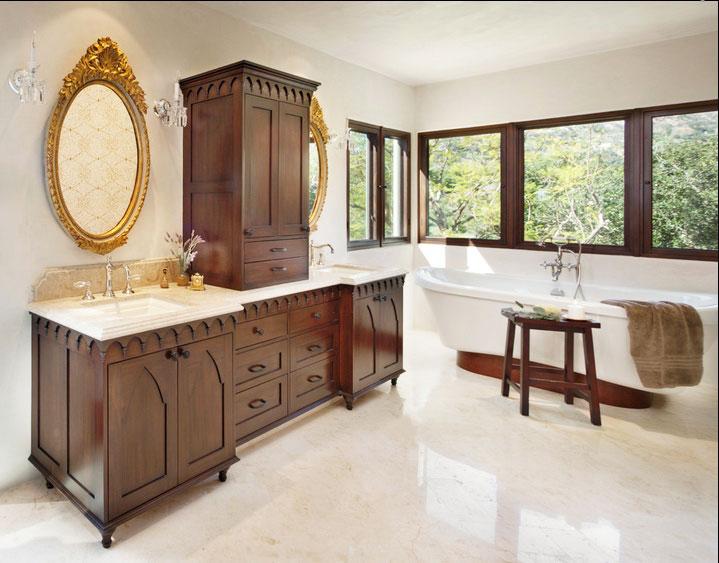 红色浴室柜效果图 齐家网装修效果图