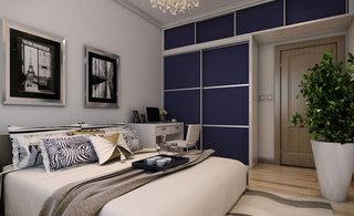 新古典宝蓝色卧室衣柜效果图