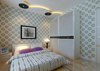 卧室白色双门移门衣柜效果图