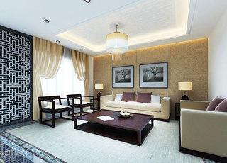 简洁中式客厅吊灯效果图