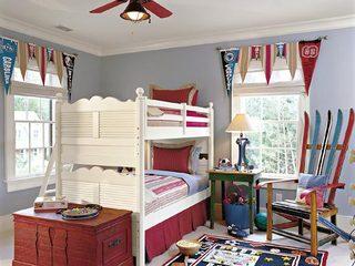 美式蓝色红色儿童房效果图