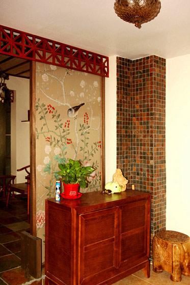 棕红色实木玄关柜效果图