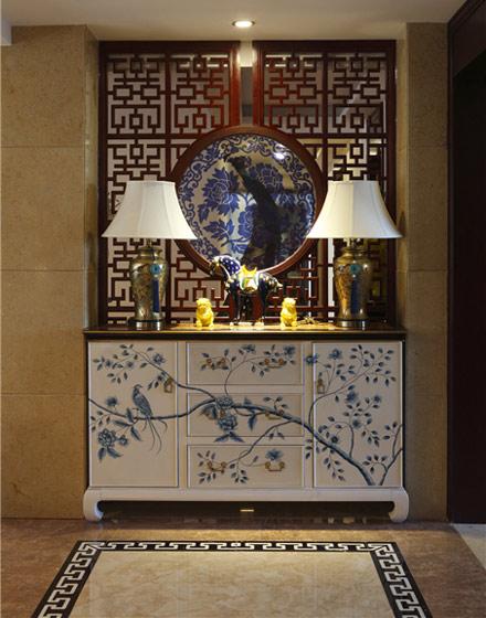 青花瓷图案中式玄关柜效果图