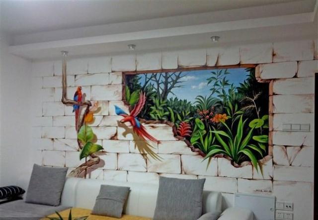 沙发手绘墙效果图
