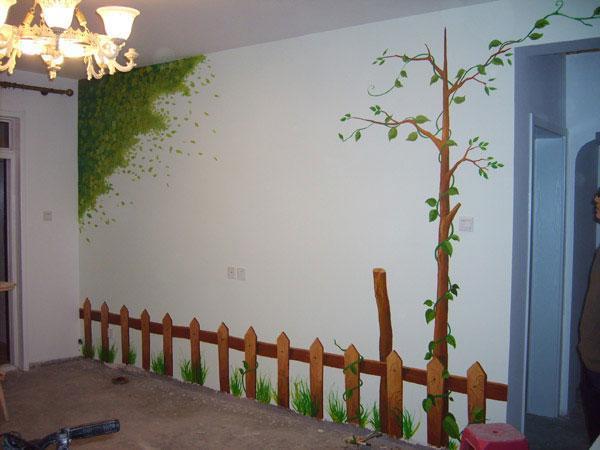 栅栏手绘墙效果图