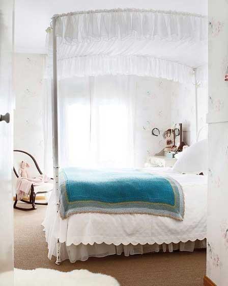 清新天棚床梦幻卧室设计效果图
