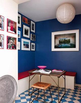 深蓝色餐厅背景墙效果图