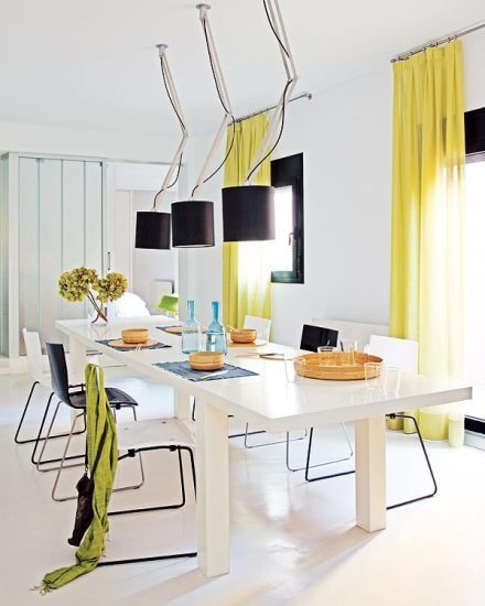 黄色黑色白色清新餐厅效果图