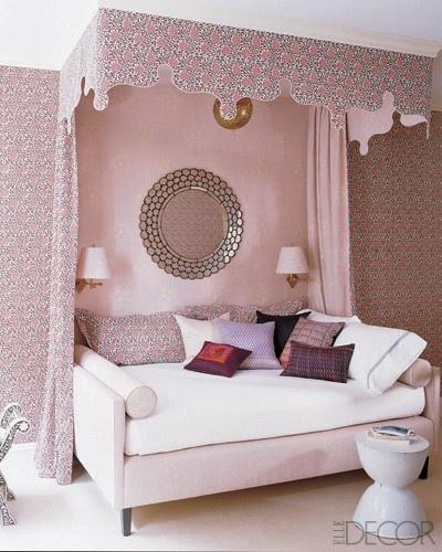 淡粉色儿童房沙发床效果图