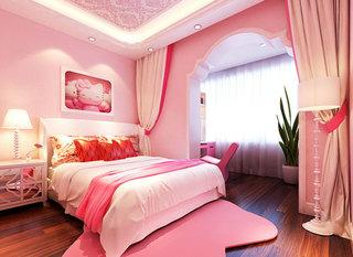 可爱粉色卧室飘窗效果图