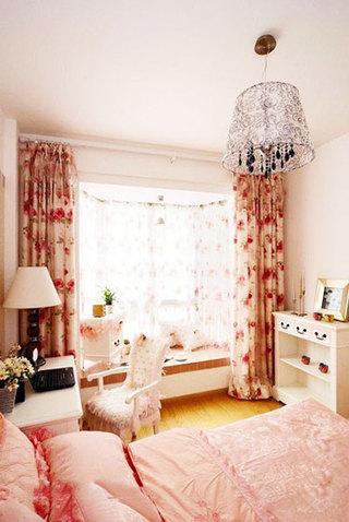 实用粉色卧室飘窗效果图