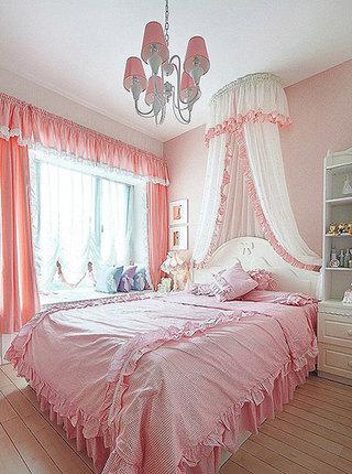 单调粉色卧室飘窗效果图