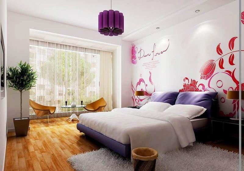 现代简约粉色卧室飘窗效果图