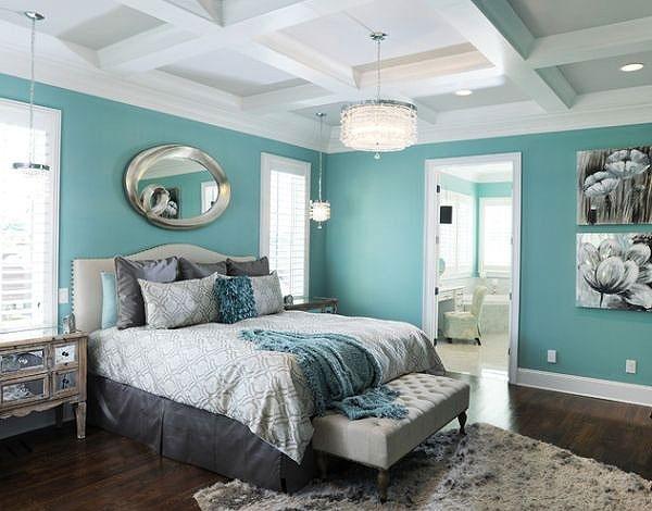 绿色齐家_蓝绿色卧室背景墙图片_齐家网装修效果图