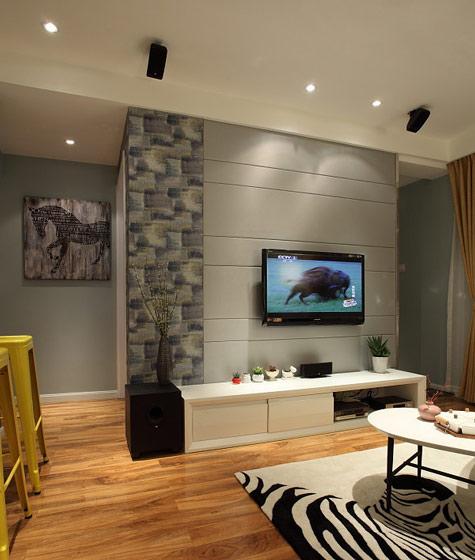 灰色电视机背景墙效果图