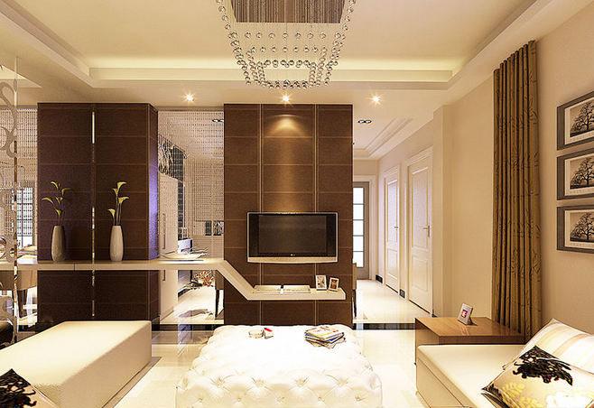 棕色电视背景墙效果图图片
