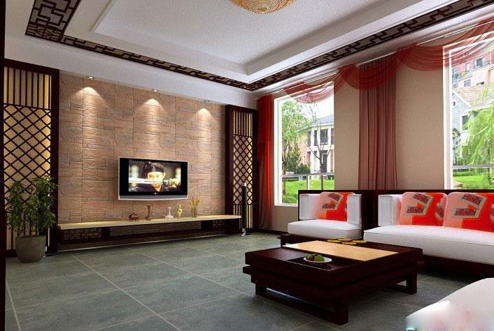 浅棕色电视背景墙效果图