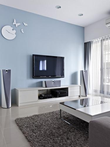 浅蓝色电视背景墙效果图