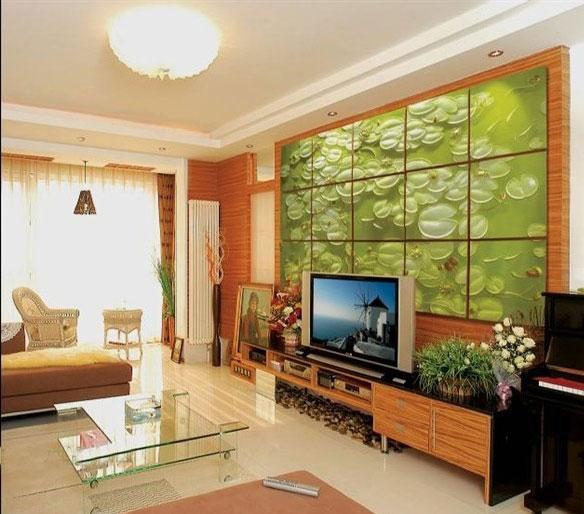 中式绿色魔块电视背景墙效果图图片