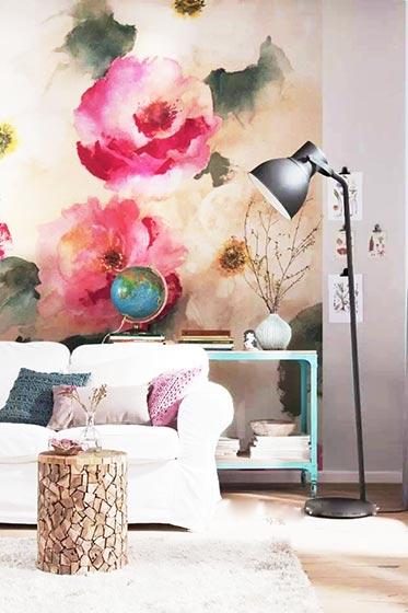 舒适客厅手绘墙图片