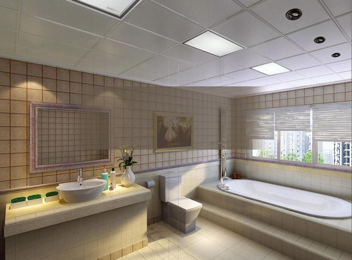 白色卫生间集成吊顶设计