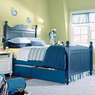 蓝色实木床效果图