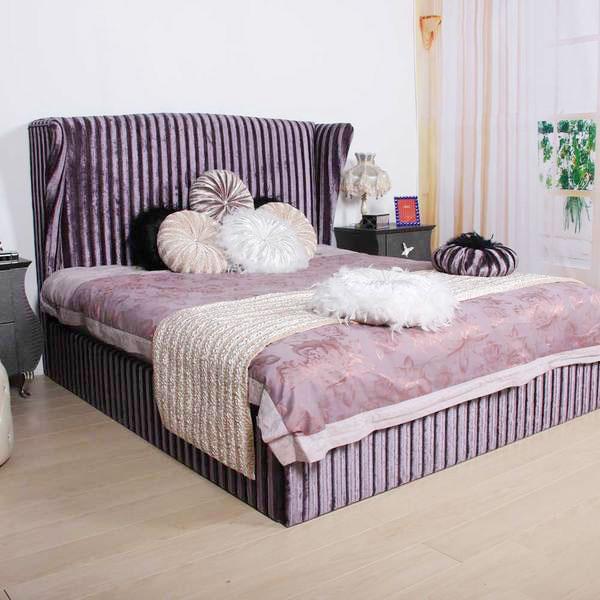 紫色布艺床效果图