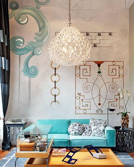 手绘沙发背景墙 19款创意墙面设计- 装修效果图 - 网