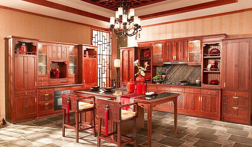 中式实木橱柜图片