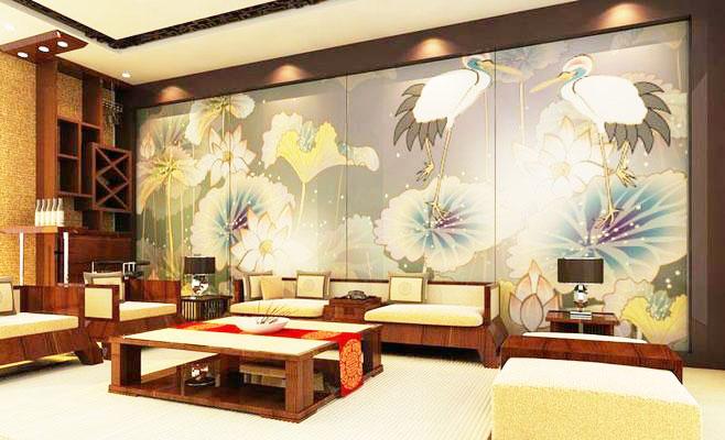 中式沙发背景墙效果图